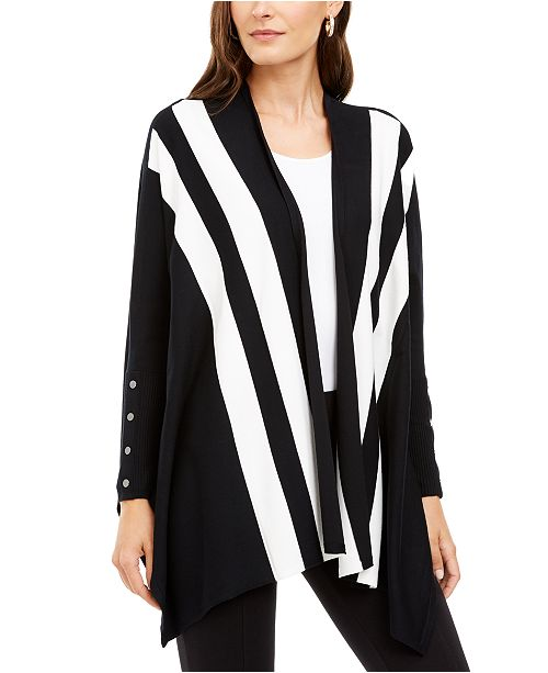 Alfani Petite Striped Open-Front Cardigan, Created For Macy's
