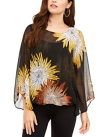Alfani Printed Angel-Sleeve Bubble Top, Created for Macy's
