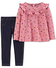 Carter's Baby Girls 2-Pc. Butterfly-Print Tunic & Jeggings Set