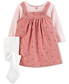 Baby Girls 3-Pc. Striped T-Shirt, Bow-Print Jumper & Footed Tights Set