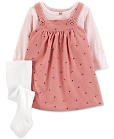Carter's Baby Girls 3-Pc. Striped T-Shirt, Bow-Print Jumper & Footed Tights Set