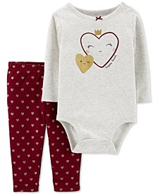Baby Girls 2-Pc. Cotton Graphic-Print Bodysuit & Heart-Print Leggings Set