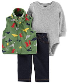 Baby Boys 3-Pc. Fleece Dinosaur Vest, Bodysuit & Pants Set