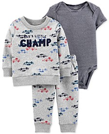 Baby Boys 3-Pc. Race Car Sweatshirt, Bodysuit & Jogger Pants Set