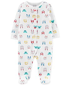 Baby Girls 1-Pc. Cotton Footed Thermal Animal-Print Sleep and Play