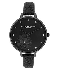 Christian Siriano Women's Analog Black-Tone Stainless Steel Glitter Strap Watch 38mm