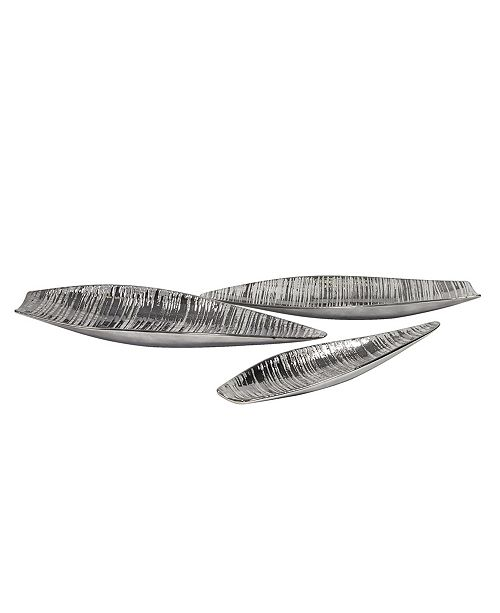 Howard Elliott Metallic Pewter Striped Plate Set
