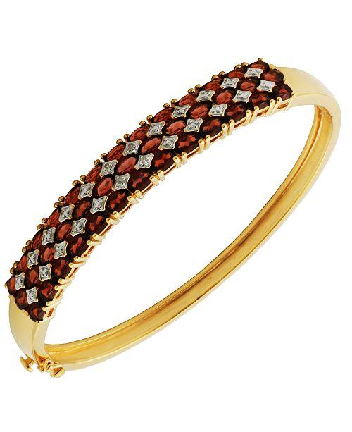 Macy's Prime Art & Jewel 18K Gold Over Sterling Silver Garnet with Diamond Accent Bracelet