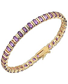 18K Gold Over Sterling Silver Purple Amethyst Tennis Bracelet