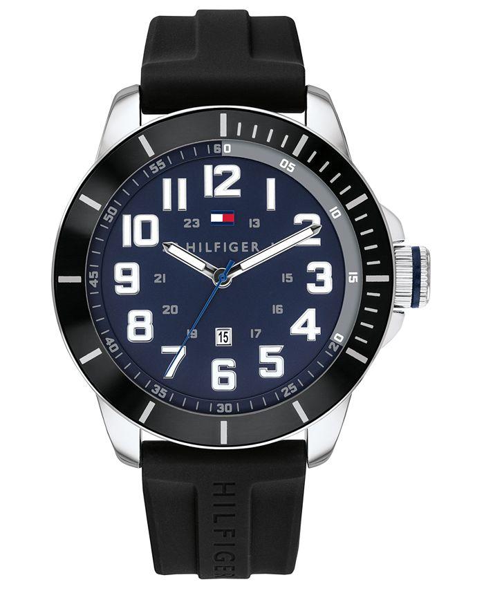 Tommy Hilfiger - Men's Black Silicone Strap Watch 44mm