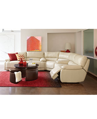 Nina Leather Sectional Living Room Furniture Collection Power Reclining Fu