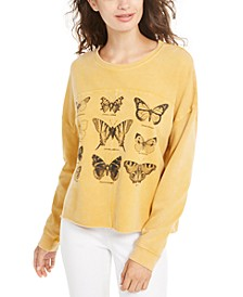 Juniors' Butterflies Graphic-Print Sweatshirt