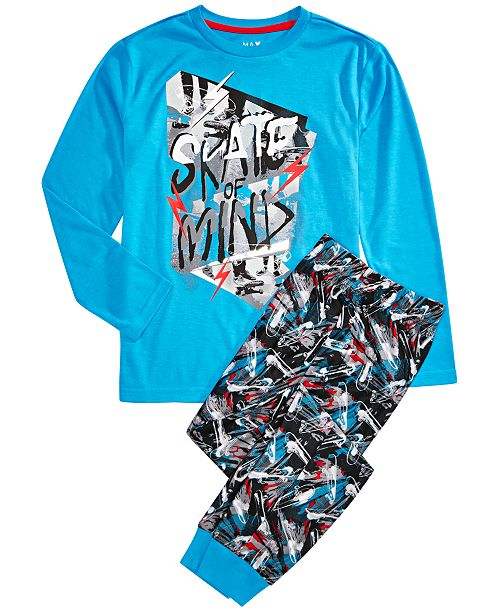 Max & Olivia Big Boys 2-Pc. Skate Mind Pajama Set
