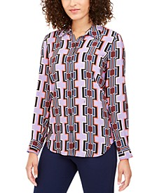 Printed Button-Down Silk Top