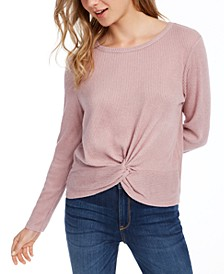 Juniors' Cozy Ribbed Twist Front Top