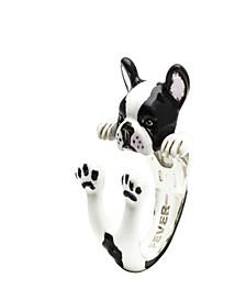 French Bulldog Hug Ring in Sterling Silver and Enamel