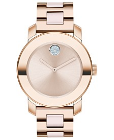 Movado Women's Swiss BOLD Blush Ceramic & Carnation Gold-Tone Stainless Steel Bracelet Watch 36mm