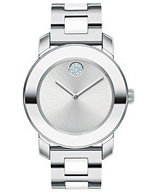 Women's Swiss BOLD White Ceramic & Stainless Steel Bracelet Watch 36mm