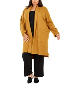 Eileen Fisher Plus Size Open-Front Wool Jacket