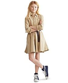폴로 랄프로렌 Polo Ralph Lauren Big Girls Cotton Chino Shirtdress,Classic Khaki