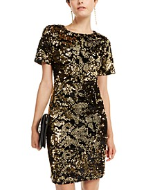 INC Velvet & Sequin Dress, Created for Macy's