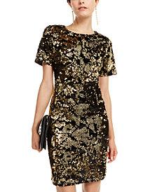 INC Velvet & Sequin Dress, Created for Macy's