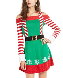 Juniors' Cold-Shoulder Holiday Elf Dress