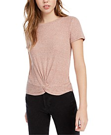 Juniors' Ribbed Twist-Front Top