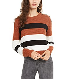 Juniors' Striped Button-Shoulder Sweater