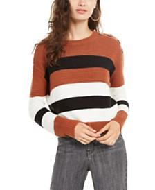 Planet Gold Juniors' Striped Button-Shoulder Sweater