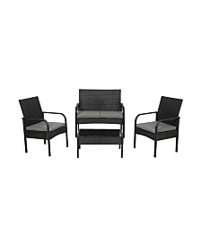 Westin Furniture 4-Piece Rattan Wicker Modern Sofa Set