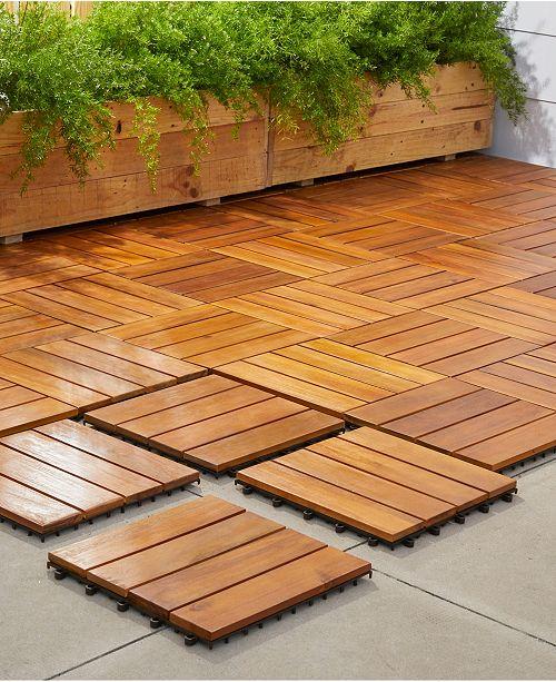 Vifah Outdoor Patio 4 Slat Acacia Interlocking Deck Tile Set Of 10