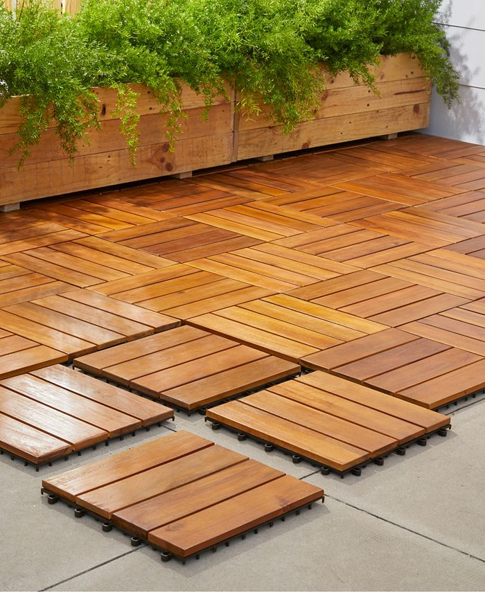 Vifah Outdoor Patio 4 Slat Acacia, Outdoor Interlocking Tiles For Patio