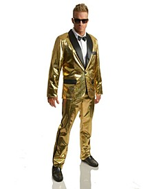 Men's Disco Ball Gold Tuxedo Set With Pants