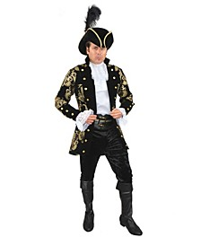Men's French Pirate Captain Black Plus Adult Costume