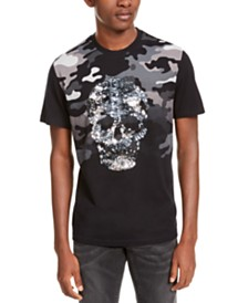 I.N.C. Men's Camo Sequin Skull T-Shirt, Created For Macy's