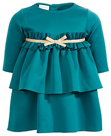 Baby Girls Scuba Ruffled Bow Dress, Created For Macy's