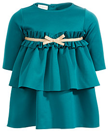 First Impressions Baby Girls Scuba Ruffled Bow Dress, Created For Macy's