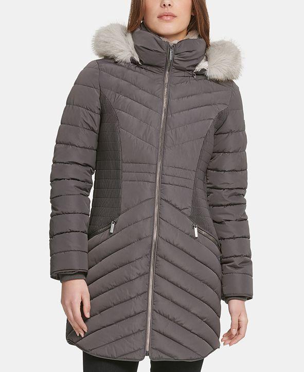 DKNY Hooded Faux-Fur-Trim Puffer Coat & Reviews - Coats ...