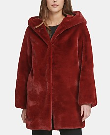 DKNY Hooded Faux-Fur Coat