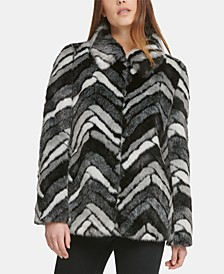 Faux-Fur Chevron Coat