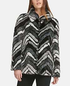 DKNY Faux-Fur Chevron Coat