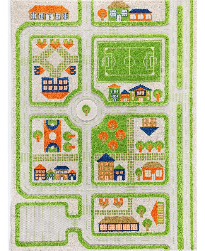 """IVI - Traffic Blue 3D Childrens Play Mat & Rug in A Colorful Town Design with Soccer Field, Car Park&Roads, 72""""L x 53""""W"""