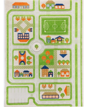 Ivi Traffic 3d Childrens Play Mat & Rug In A Colorful Town Design With Soccer Field, Car Park & Roads -  In Green