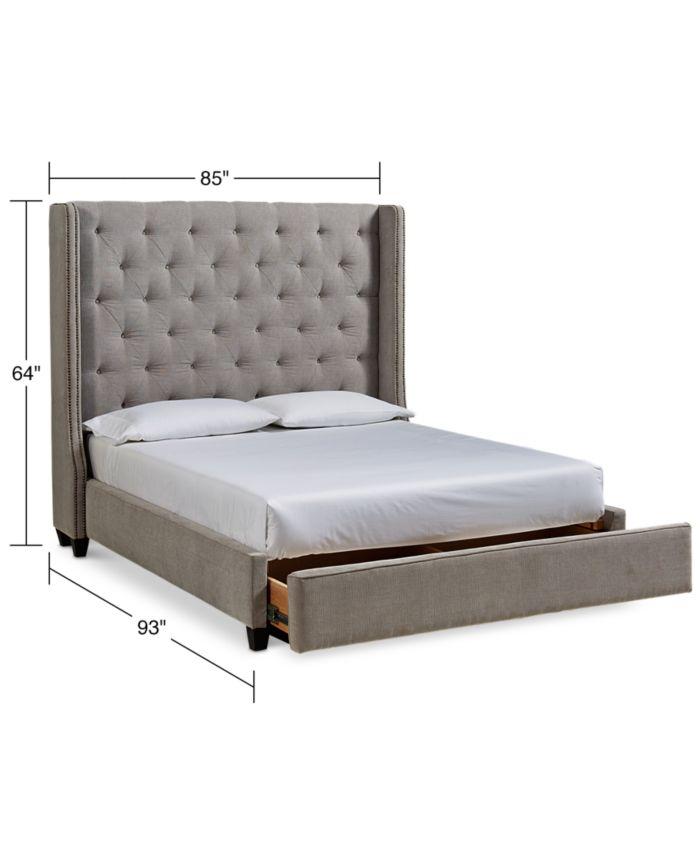 Furniture Rosalind Upholstered Storage Platform California King Bed & Reviews - Furniture - Macy's
