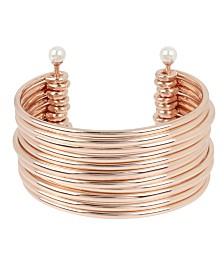 BCBGeneration Pearl Silver Multi Row Cuff Bracelet