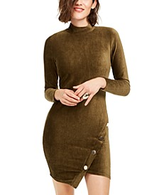 Juniors' Corduroy Snap Bodycon Dress