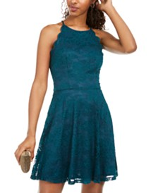 BCX Juniors' Scalloped Lace Fit & Flare Dress