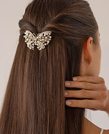 Soho Style Imitation Pearl Speckled Butterfly Barrette
