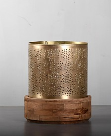 "Villa2 Jaali Hurricane 3"" Dia Candle Holder Stand in Brushed Retro Rich Look"